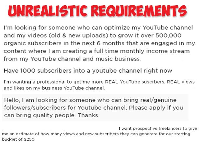 unrealistic youtube growth